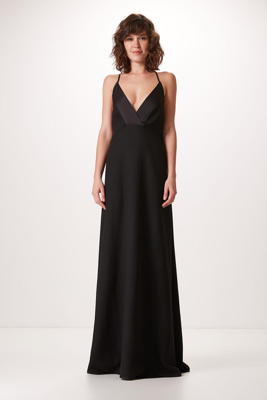 Vestido Longo Crepe Paris Preto 16146130127 Canal Concept